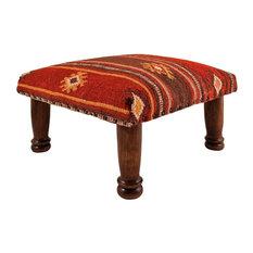 Red Tribal Wool Kilim Footstool
