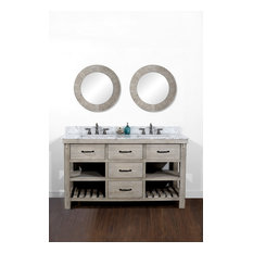 Merlin Double-Sink Bathroom Vanity With Carrara White Marble Top 60-inch