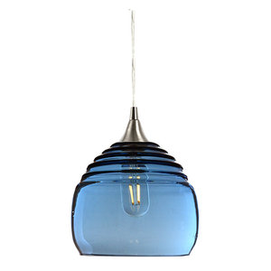 Lucent Pendant No. 302b, Blue Glass Shade, Brushed Nickel Hardware