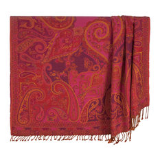 """100% Cotton Red Burgundy/Pink Paisley 50""""x70"""" Throw With Tassels, Keats"""