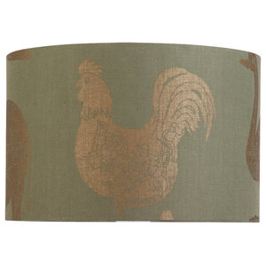 "PaperBoy Interiors ""How it Works"" Lampshade, Green and Gold, Floor or Table Fitt"