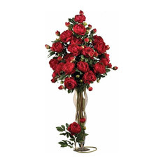 "Nearly Natural 385"" PeonysWith Leaves Stem, Set of 12"", Red"