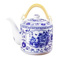 Ceramic Cold Kettle Boiled Teapot With Double Handle, 70 Oz, Rich Peony Blossoms