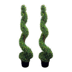 5 Feet Artificial Spiral Boxwood Topiary Plant Trees In Plastic Pot, Green, Set