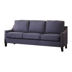 Wooden Frame Sofa, Blue Linen