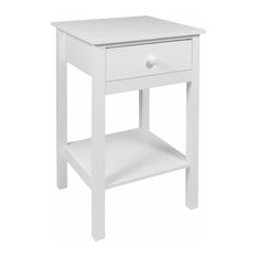 Modern Bedside Table, White Finished MDF With Open Shelf and Storage Drawer