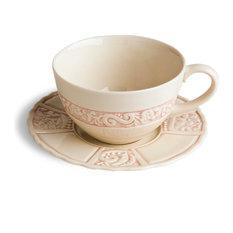 Flower Garden Latte Cup and Saucer Set, Set of 2, Pink