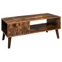 Retro Table,Mid-Century Modern Accent Table With Storage Shelf Brown