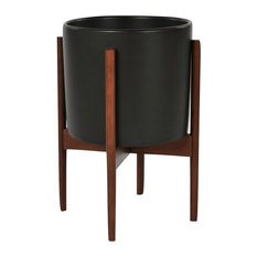 Modernica Ceramic Small Cylinder Planter, Charcoal/Wood Stand
