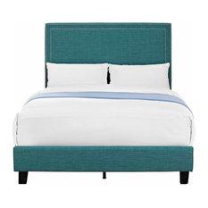 Picket House Furnishings Emery Upholstered Platform Bed, Teal, Full