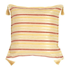 Pillow Decor - Chenille Stripes in Rose, Gold and Cream Throw Pillow