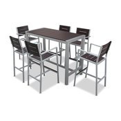 Aluminum 7 Pc Modern Dining Bar Table and Barstools Set