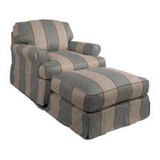 Horizon Slipcovered T-Cushion Chair with Ottoman | Beach House Blue