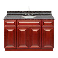 Cherry Bathroom Vanity 48-inch Tan Brown Granite Top Faucet LB7B