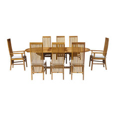 9-Piece Oval Teak Wood West Palm Table/Chair Set With Cushions