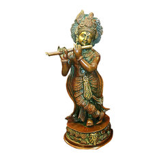 Mogulinterior - Krishna Statue - Hindu God of Love and Divine Joy Brass Sculpture - Decorative Objects And Figurines