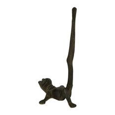 Rustic Brown Cast Iron Long Leg Frog Paper Towel Holder
