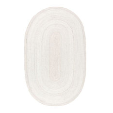 "nuLOOM Hand Woven Jute and Sisal Rigo Area Rug, Off-White, 2'3""x4' Oval"