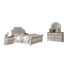 Willowick 5-Piece Traditional Bedroom Set with Sleigh, Ant White, Queen