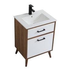 """Elegant Decor Boise 24"""" Porcelain Top Bathroom Vanity in Matte White"""