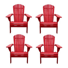 W Unlimited Oceanic Wooden Patio Adirondack Chair, Red, Set of 4