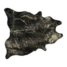 5'x7'Cowhide Area Rug, Chocolate and Gold