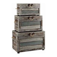 3-Piece Nantucket Weathered Wooden Trunks