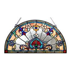 "CHLOE Lighting EMERSYN Victorian Tiffany-glass Window Panel, 24"""