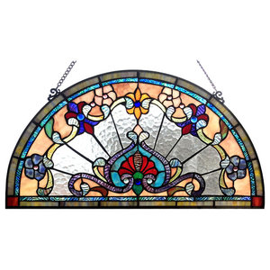 CHLOE Lighting EMERSYN Victorian Tiffany-glass Window Panel, 24""