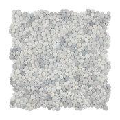 "12.25""x12.25"" Pebble Stone Mosaic Floor and Wall Tile, White Smoke"