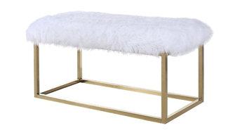 Marilyn FurLuxe Gold Metal Ottoman Bench, White