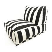 """Outdoor Vertical Stripe Bean Bag Chair Lounger, Black, 27"""" L X 36"""" W X 24"""" H"""
