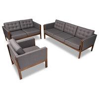 Iridi Mid-Century Upholstered Walnut Finish 3-Piece Living Room Set, Gray/Walnut