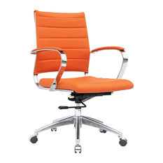 Elegant America Luxury   Modern Contemporary Urban Home Work Adjustable Office Chair,  Orange, Leather