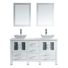 "Bradford 60"" Double Vanity Set, White Square, Polished Chrome, With Mirror"