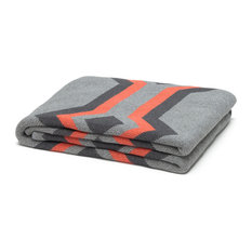 Eco Serape Throw, Alum, Smoke and Coral