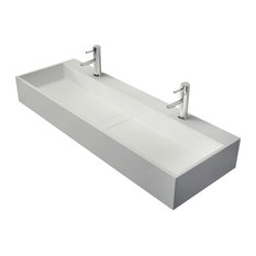 """47"""" Wall-Mount Double Sink Stone Resin Bathroom Sink with Two Faucet Hole, Matte"""
