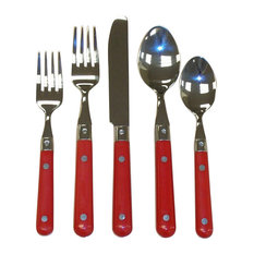 Le Prix 20-Pc. Stainless Flatware Set in Red