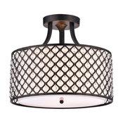 3-Light Antique Black Beaded Drum Semi Flush Mount Chandelier Glam