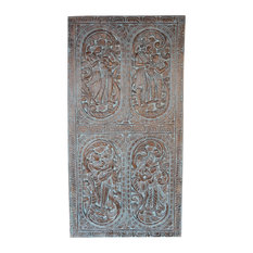 Mogulinterior - Consigned Antique Hand Carved Distressed Love Posture Erotic Barn Door Panel - Wall Accents