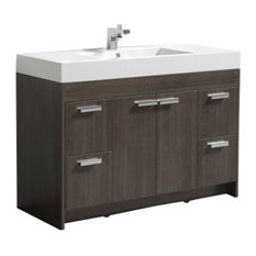 Lugano Modern Bathroom Vanity With Integrated Acrylic Sink, Gray Oak, 48""