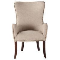 Garner Beige Linen Armchair with Nailhead Trim