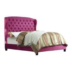 Felisa Upholstered Panel Bed, Magenta Pink, Queen