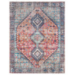 "Anji Mountain - Dari Distressed Area Rug, 7'6""x9' - Bring well-worn, well-traveled style into your home with this rustic jute area rug inspired by antique Persian carpets. Handwoven by Indian artisans, this piece is as durable as it is beautiful. Rich, royal blues, reds and orange are muted by a distressed look for a more casual take on traditional oriental rugs. Its rugged, raw jute fibers will stand up to heavy foot traffic in your entryway, living room, or eating areas while its charming color and heirloom look will update any room that needs a little style lift. Good Weave licensed and made from sustainable materials."
