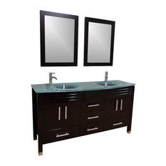 """63"""" Double Sink Frost Green Glass Top Vanity - Espresso"""