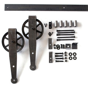 Farmhouse Spoked Sliding Barn Door Hardware Set, Aged Steel, 60""