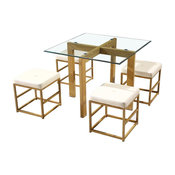 Cube Glass Dining Table With 4 Chairs, Cream