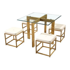 Lpd Furniture Cube Gl Dining Table With 4 Chairs Cream Sets
