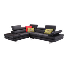A761 Italian Leather Sectional Sofa Black Left Hand Facing Chaise