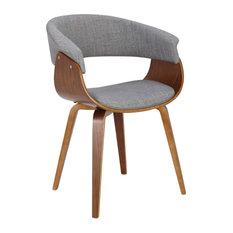 Vintage Mod Mid-Century Modern Dining/Accent Chair In Walnut & Light Grey